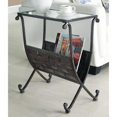 Woven Mixed Metal 23''H Magazine Table with Tempered Glass Top - Black and Taupe