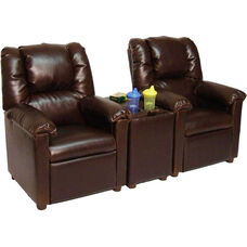 Kids 2-Seat Home Theatre Set with Storage Console- Brown Vinyl
