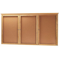 3 Door Enclosed Bulletin Board with Crown Molding and Oak Finish - 48''H x 96''W