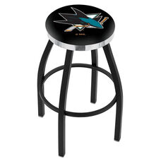 San Jose Sharks 25'' Black Wrinkle Finish Swivel Backless Counter Height Stool with Chrome Accent Ring