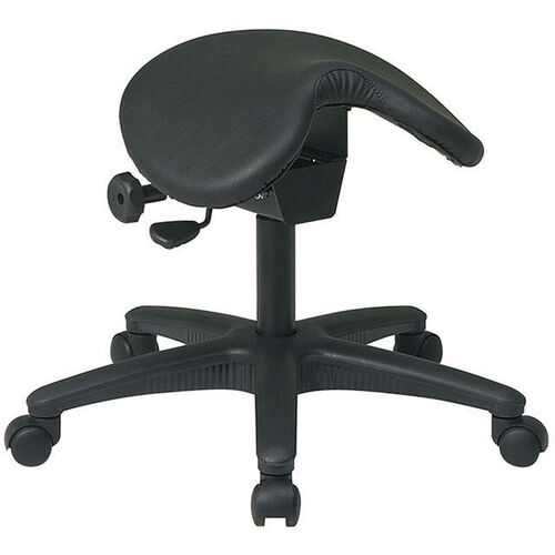 Work Smart Backless Stool with Saddle Seat - Black