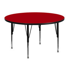 48'' Round Red Thermal Laminate Activity Table - Height Adjustable Short Legs