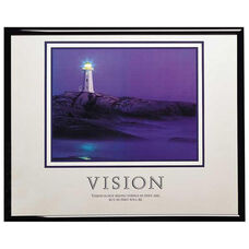 Advantus 30'' W x 24'' L Framed Motivational Art Print - Vision with Lighthouse on Rocky Cliff