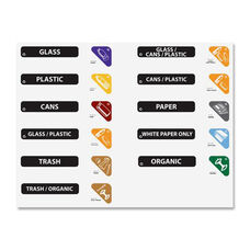 Rubbermaid Commercial Products Glutton Recycling Station Label Kit - 7''W X 10''D X 0.3''H