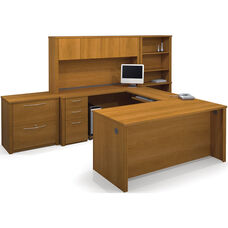 Embassy U-Shaped and Hutch Assembly with Locking Drawers and Keyboard Shelf - Cappuccino Cherry