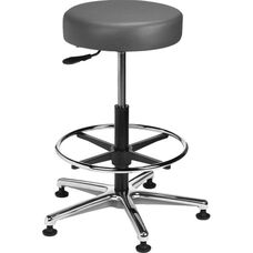 Industrial Round Vinyl Cast Aluminum Base Stool with Glides and Footring