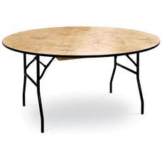 30''H Round Plywood Folding Table with Locking Wishbone Style Legs