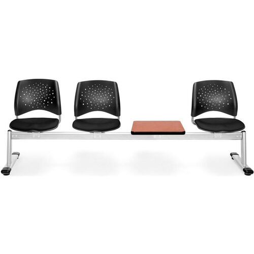 Stars 4-Beam Seating with 3 Black Fabric Seats and 1 Table - Cherry Finish