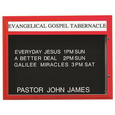 Double Sided Illuminated Community Board with Header and Red Powder Coat Finish - 36''H x 47''W