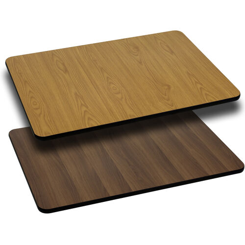 30'' x 60'' Rectangular Table Top with Reversible Natural or Walnut Laminate Top