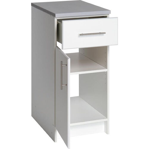 Elite 16'' Base Cabinet with 1 Adjustable Shelf and 1 Drawer - White