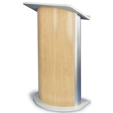 Curved Hard Rock Lectern with Satin Anodized Aluminum - Maple Finish - 26.75''W x 17.5''D x 47.25''H