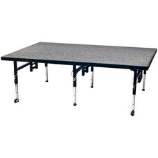 Adjustable Height Stage with Carpeted Top and Built - In Coupling System - 48''W x 72''D x 16''H - 24''H