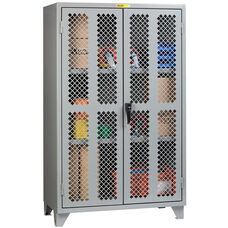 High Visibility Storage Cabinet with Locking Handle - 30''W x 60''D