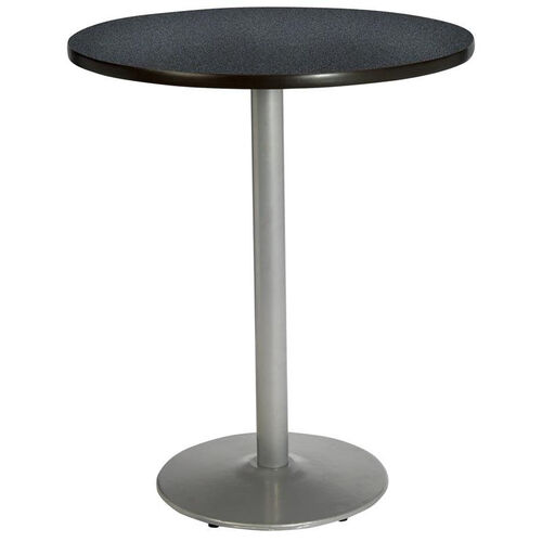 30'' Round Laminate Bistro Height Pedestal Table with Graphite Nebula Top - Silver Round Base