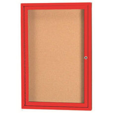 1 Door Indoor Illuminated Enclosed Bulletin Board with Red Powder Coated Aluminum Frame - 24''H x 18''W