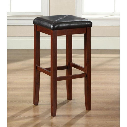 Upholstered Square Seat Bar Stool in Vintage Mahogany Finish with 29'' Seat Height - Set of 2