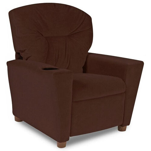 Kids Micro-Suede Theater Recliner with Cup Holder - Chocolate