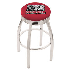 University of Alabama 25'' Chrome Finish Swivel Backless Counter Height Stool with 2.5'' Ribbed Accent Ring