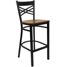 Black ''X'' Back Metal Restaurant Barstool with Cherry Wood Seat