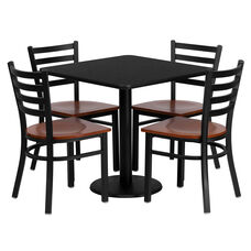 30'' Square Black Laminate Table Set with Ladder Back Metal Chair and Cherry Wood Seat, Seats 4