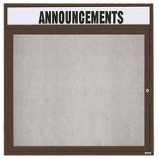 1 Door Outdoor Enclosed Bulletin Board with Header and Bronze Anodized Aluminum Frame - 36''H x 36''W