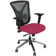 Fermata Executive Mesh Chair with Aluminum Base - Raspberry Fabric