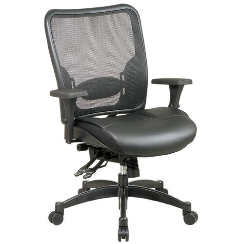 Space Professional Breathable Mesh Back and Layered Leather Seat Ergonomic Office Chair - Black