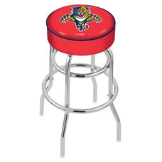 Florida Panthers 25'' Chrome Finish Double Ring Swivel Backless Counter Height Stool with 4'' Thick Seat