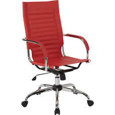 Ave Six Trinidad High Back Vinyl Office Chair with Chrome Base and Casters - Red