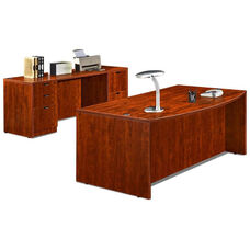 Cherry 70.75''W Bow Front Desk and Credenza