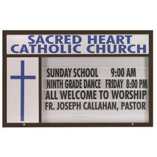 Marquee One Single Sided 4''D Changeable Sign System with Symbol Case and Header - Black Powder Coat Finish