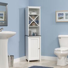 Bath Collection 60.625''H Linen Tower with Reversible Door - Soft White