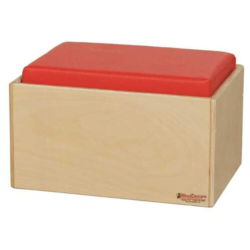 Children's Bench with Red Reversible Vinyl Cushions - Assembled - 16''W x 12.5''D x 9''H
