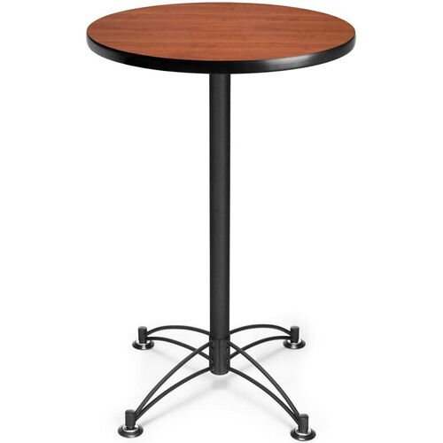 24'' Round Cafe Table - Cherry with Black Base