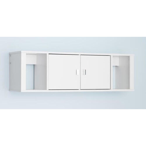 Designer 42.5''W Floating Hutch with 2 Open Storage Compartments and 2 Doors - White