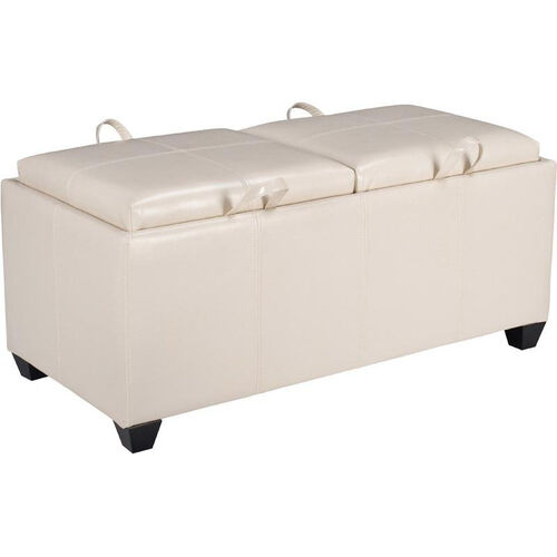 OSP Designs Metro Storage Ottoman with Dual Cushions and Trays - Cream
