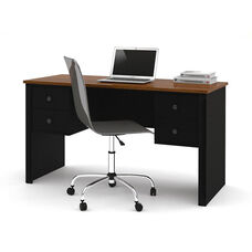 Somerville Executive Desk with Two Pedestals and Drawers - Black and Tuscany Brown