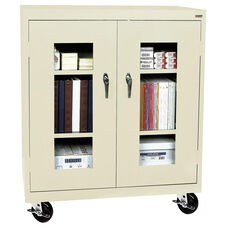 See-Thru Series 36'' W x 18'' D x 48'' H Clear View Mobile Counter Height Cabinet - Putty