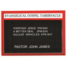 Single Sided Illuminated Community Board with Header and Red Powder Coat Finish - 42''H x 60''W