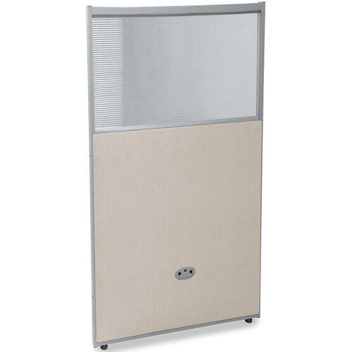 RiZe 47'' H x 25'' W Poly Panel With Translucent Tops and Gray Frame - Beige Vinyl
