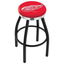 Detroit Red Wings 25'' Black Wrinkle Finish Swivel Backless Counter Height Stool with Chrome Accent Ring