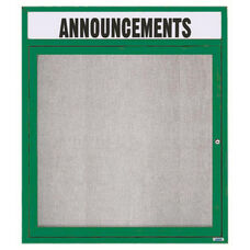 1 Door Outdoor Enclosed Bulletin Board with Header and Green Powder Coated Aluminum Frame - 36''H x 30''W
