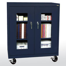 See-Thru Series 36'' W x 18'' D x 48'' H Clear View Mobile Counter Height Cabinet - Navy Blue