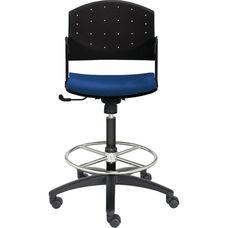 Eddy Medium Height Swivel Stool with Upholstered Seat Pad