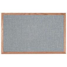 Designer Fabric Bulletin Board with Oak Frame - Gray - 24''H x 36''W