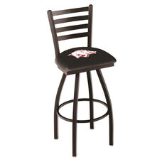 University of Arkansas 25'' Black Wrinkle Finish Swivel Counter Height Stool with Ladder Style Back
