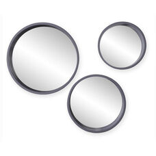 Daws Modern Transitional Round Geometric 3 Piece Wall Accent Mirrors - Gray