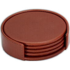 Rustic Leather Round Coasters with Holder - Brown