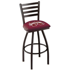 Mississippi State University 25'' Black Wrinkle Finish Swivel Counter Height Stool with Ladder Style Back